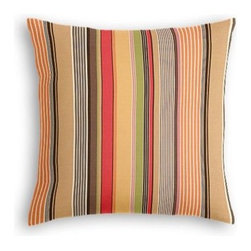 Red & Orange Modern Stripe Custom Throw Pillow - The every-style accent pillow: this Simple Throw Pillow works in any space.  Perfectly cut to be extra fluffy, you'll not only love admiring it from afar but snuggling up to it too! We love it in this purple, lime and taupe multi stripe that feels modern with a need for speed.