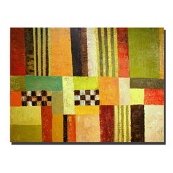 Trademark Art - Michelle Calkins Color Pattern Abstract - 35 - Gallery Wrapped Canvas Art. Canvas wraps around the sides and is secured to the back of the wooden frame. Frameless presentation of the finished painting. 35 in. L x 47 in. W x 2 in. D (10.8 lbs.)
