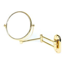 Windisch - Wall Mounted Extendable Double Face Brass 3x Magnifying Mirror - Contemporary style extendible wall mounted double face (regular and magnifying) mirror. Mirror is available in 3 finishes with 3x magnification. Quality chrome and gold, gold, or satin nickel cosmetic mirror. Modern wall mount makeup magnifying mirror. For modern settings. From the Windisch Mirror Collection collection. Manufactured in and imported from Spain. Wall mount plate has height of 5.5 in. and width of 2.5 in.