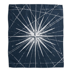 Montauk Compass Rose Hand Towel, Navy/White