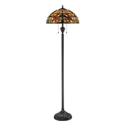 Quoizel - Quoizel Vintage Bronze Lamps - SKU: TF878F - This lovely Tiffany style collection features a handcrafted, genuine art glass shade created in hues of amber, caramel, ginger and emerald. The glass is arranged in a classic Art Nouveau pattern. The warm color palette creates a harmonious balance of light, and the complementary base is finished in a vintage bronze.