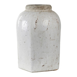 Zentique - Distressed Jar, M - This piece is a tall rounded jar with a distressed look.