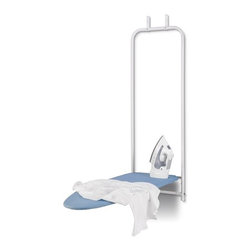 "Honey-Can-Do Int. - Over-The-Door Ironing Board - Over-the-door Ironing Board White / Blue.  A space-saving ironing board that can be easily hung over any standard door for convenient yet hidden ironing solution. Smoothly folds up and down and locks when upright for safety. Over-the-door hooks feature cushion bumpers to protect your door from scratches or dents. The ironing surface measures 42""L by 14""W. Overall measurement is 47""L by 17""W. Includes a 7mm foam pad and 100% cotton ironing board cover in blue for a smooth ironing surface. Great for small spaces easy to use and store quickly.Features:   folding design  steel frame  100% cotton cover"