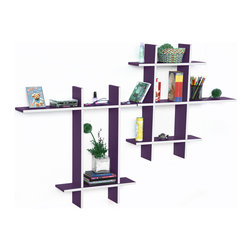 Blancho Bedding - [Violet Love-MEGA] Leather Cross Type Shelf / Bookshelf / Floating Shelf (9 pcs) - These beautifully crafted Cross Wall Shelves display the art of woodworking and add a refreshing element to your home. Versatile in design, these leather wall shelves come in various colors. Just exert your imagination and put the boards together to light up your room. They spice up your home's decor, and create a multifunctional storage unit for all around your home. These elegant pieces of wall decor can be used for various purposes. It is ideal for displaying keepsakes, books, CDs, photo frames and so much more. Install as shown or you may separate the shelves to create a layout that suits your taste and your style. You can hang them on the wall, or have them stand on table or floor, or any way you like. Each box serves as a practical shelf, as well as a great wall decoration. Each measures approx. (W)30.9 x  (D)6 inches; (W)20.5 x  (D)6 inches; Thick: 0.6 inches.