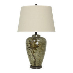 """Lamps Plus - Traditional Ravenna Jug Eggshell Hand-Painted Table Lamp - Sophisticated hand-painted jug table lamp. Eggshell glaze finish. Hand-painted bird motif. Bronze finish base and accents. Ceramic and metal construction. Off-white shade. Round base. Three-way switch. Takes one maximum 150 watt 3-way or equivalent bulb (not included). 29 1/2"""" high. Shade is 15"""" wide on top 19"""" wide on the bottom and 12"""" high. Base is 11"""" wide.  Sophisticated hand-painted jug table lamp.  Eggshell glaze finish.  Hand-painted bird motif.  Bronze finish base and accents.  Ceramic and metal construction.  Off-white shade.  Round base.  Three-way switch.  Takes one maximum 150 watt 3-way or equivalent bulb (not included).  29 1/2"""" high.  Shade is 15"""" wide on top 19"""" wide on the bottom and 12"""" high.  Base is 11"""" wide."""
