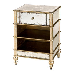 Kathy Kuo Home - Harlow Hollywood Regency Antique Mirror 1 Drawer Bedside Chest - The Harlow side table is hand finished and constructed from wood that is finished with hand painted silver leafing and aged mirror.  A generous sized drawer and shelves for books and other storage accented with a bamboo leaf trim make this piece truly stunning yet functional.