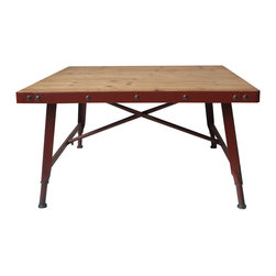 Moe's Home Collection - Moe's Home Yale Square Coffee Table in Red - Industrial look
