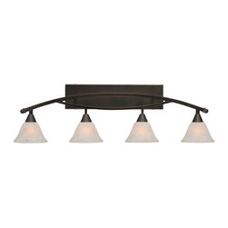 "Toltec - Toltec 174-Bc-505 Bow 4-Light Bath Bar Shown in Black Copper Finish - Toltec 174-BC-505 Bow 4-Light Bath Bar Shown in Black Copper Finish with 7"" White Marble Glass"