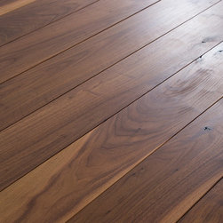 """Oiled Black Walnut Wood Flooring - 5"""" wide Character Grade Black Walnut wood flooring. Finished with an oiled/wax. Photo by Tracy Cox Photography"""