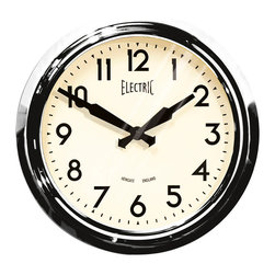 Rejuvenation: Kitchen - A stylish retro clock whose appearance dates back to the 1950s, often seen in schoolrooms, newsrooms, and break rooms.