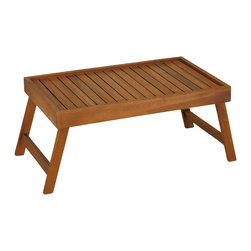 """Cortesi Home - Coco Bed Tray Table in Solid Teak Wood - This solid teak tray table is a great addition to any home. Use it as a tray to make your on the go food and drinks easy to carry. Use it as a table on top of an ottoman or even a sofa seat to give stability to any drink or plate. Use it as a laptop table so you can get your work done in a comfort of your bed. The base of the tray is made of solid teak wood slats for plenty of airflow so your laptop will not overheat. The slats are 1/3"""" thick so it will not warp or bend from heavy weight of the dishes you are carrying."""