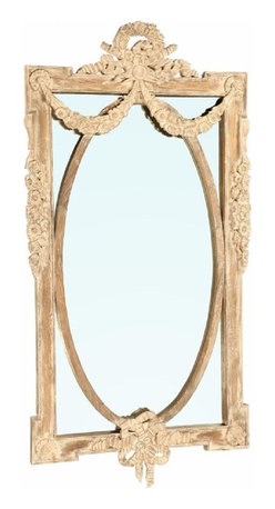 Dovetail - Dovetail Loire Mirror - French provincial mirror with distressed whitewash finish.