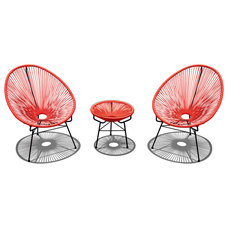 Modern Outdoor Lounge Sets Acapulco 3 Piece Retro Patio Chat Set, Atomic Tangerine