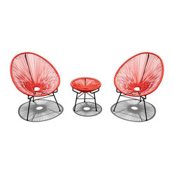 Harmonia Living - Acapulco 3 Piece Retro Patio Chat Set, Atomic Tangerine - Who needs the tropics when you have this fun, unusual furniture sitting on your patio or deck? Shaped like fans, the chairs will cushion your whole body, letting the breeze flow through, not just over you. Add the cushion to the table for an instant ottoman.