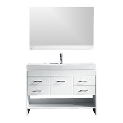 """Virtu USA - Gloria 48"""" Single Bathroom Vanity Cabinet Set in White, Houzz Exclusive - Inspired by the Virtu USA Hotel Collection this  bathroom vanity was designed to capture beauty and is scaled down to perfection.  The vanity is built using quality solid Oak wood finished in a white complexion. A Beautiful white porcelain sink rests magnificently on  the vanity. Finally, a beautiful white ceramic basin thrones the vanity and is crowned by a beautifully designed Eco-friendly faucet, designed to last a lifetime.  Quality, functionality, and amazing design, the Marsala vanity will be adorned by any bathroom design."""