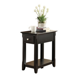 "ACMACM80293 - Corin Black Finish Wood Chair Side End Table with Drawer - Corin Black finish wood chair side end table with drawer. Measures 13"" x 22"" x 23"" H. Some assembly required."