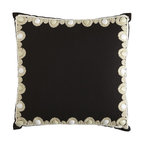 Cavalry Beaded Edge Pillow - This black and beaded pillow is an elegant eye-catcher. It invokes the feel of one of Stevie Nicks' shawls.
