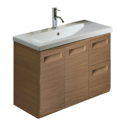 Iotti - Wall Mounted Vanity Cabinet With Ceramic Sink, Natural Oak - This 2-piece wall mounted bathroom vanity set features a 2 doors, 2 drawer vanity cabinet and a self-rimming ceramic bathroom sink. Vanity cabinet is made of engineered wood and available in 3 finishes - natural oak (as shown in the picture), wenge, and glossy white. Made and designed in Italy. Please note that the faucet is not included in this set.