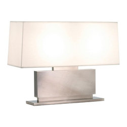 Sonneman - Sonneman | Plinth Low Table Lamp - A vivid, purposeful series of rectangular elements distinguishes this table lamp. Off-White Linen rectangular shade tops the horizontal, layered rectangle column and base with on/off pull switch. Offered in two finishes.Select from Black Nickel or Black Brass finishes with Off-White Linen shade.