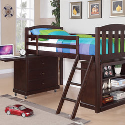 Coaster - Anders Loft Height Bed with Small Chest and Bookcase, Cappuccino - This twin bunk bed group includes a built-in ladder, a bookcase, and a small chest. The chest features caster wheels for easy movement in a youth room and a drop-down leaf that can be used as a writing surface when extended. With the easy movement of the wheels and the writing surface, the storage chest becomes a flexible desk for homework and more in a youth bedroom. The bookcase with three shelves faces out for easy access to belongings, while it tucks conveniently underneath the twin bed. The low height loft bed with plenty of room for storage below makes this casual style cappuccino finish loft group truly versatile.