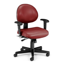 OFM - OFM 24 Hour Anti-Microbial Vinyl Computer Task Chair with Arms, Wine - This multi-shift chair can handle continuous sitting, 24 hours a day, 7 days a week. Great for government offices that require around-the-clock staffing, like hospitals and police stations. The adjustable back can fit anyone who uses it. The vinyl covering is easy to maintain in high-use environments. The anti-microbial, anti-bacterial vinyl covering is great for keeping rooms germ-free! ANSI/BIFMA approved.