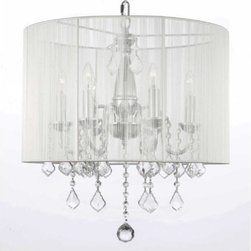 Gallery - Gallery T40-299 6 Light 1 Tier Crystal Candle Style Chandelier with Clear Crysta - Features: