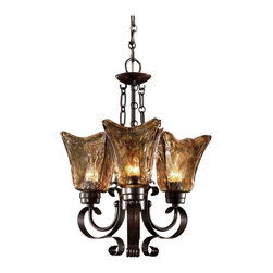 """Uttermost - Uttermost Vetraio 3-Light Chandelier 20"""" - Heavy hand made glass is held in classic European iron works giving these pieces a contemporary quality, with strong traditional appeal as well.Designer: Carolyn KinderWattage: 100WDimensions: 20"""" heightMaterial: brass/metal/glass"""