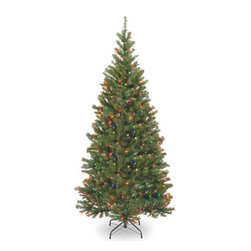 7 Ft. Aspen Spruce Hinged Christmas Tree with 400 Multi Lights - Measures 7 feet tall with 44 inch diameter. Pre-lit with 400 UL listed, pre-strung multicolor lights. Tip count: 961. All metal hinged construction (branches are attached to center pole sections). Comes in three sections for quick and easy set-up. Includes sturdy folding metal tree stand. Light string features BULB-LOCK to keep bulbs from falling out. If one bulb burns out, others remain lit. Fire-resistant and non-allergenic. Includes spare bulbs and fuses. 5-year tree warranty / 2-year lights warranty. Packed in reusable storage carton. Assembly instructions included.