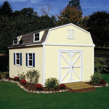 Handy Home - Handy Home Sequoia Storage Shed - 12 x 20 ft. - 18206-8 - Shop for Sheds and Storage from Hayneedle.com! If your kids accuse you of leaving the barn door open it may be less about your ability to dress yourself and more about tending to your Handy Home Sequoia Storage Shed - 12 x 20 ft. You'll appreciate the heads-up after you fill this spacious shed with your outdoor gear and off-road vehicles. 7-foot walls with an 11.6 foot peak will give you ample room for storage and the pre-hung double door can be located on any exterior wall giving you the best possible access. Door opening will measures 64W x 72H inches. The exterior is pre-primed at the factory and ready for paint and this shed can even be purchased with or without a floor as necessary. Detailed instructions and all the required hardware are included. About Handy HomeSince 1978 Handy Home has been making it easy and affordable for their customers to add storage sheds gazebos and playhouses to their homes. As North America's largest producer of wooden storage and recreational building kits Handy Home makes durable structures that require no sawing or drilling and can be delivered when and where their customers need them.