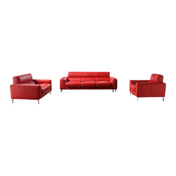 VIG Furniture - 216 Red Full Top Grain Italian Leather 3 Piece Sofa Set - The 216 sofa set is a great addition for any modern themed living room decor. This sofa set comes fully upholstered in a beautiful red top grain Italian leather. High density foam is placed within the cushions for added comfort. Only solid wood products were used when crafting the frames making the sofa set very durable. Each piece features chromed steel legs that add to the overall look.