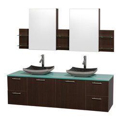 Wyndham Collection - 4-Drawer Wall Mount Vanity with Mirror - Includes drain assemblies and P-traps for easy assembly. Faucet not included. Modern clean lines. Two functional doors. Four functional drawers. Plenty of storage space. Eight stage preparation. Veneering and finishing process. Highly water-resistant low V.O.C. sealed finish. Unique and striking contemporary design. Modern wall mount design. Deep doweled drawers. Fully-extending soft-close drawer slides. Soft close door hinges. Single-hole faucet mount. Green glass top. Black granite sinks. Engineered for durability, and to prevent warping and last a lifetime. Made from highest quality grade E1 MDF. Metal exterior hardware with brushed chrome finish. Espresso finish. Minimal assembly required. Cabinet: 71.5 in. W x 6 in. D x 30 in. H. Vanity: 72 in. W x 22.25 in. D x 21.25 in. H. Care Instructions. Assembly Instructions - Sink. Cabinet Installation GuideTruly elegant design aesthetic meet affordability in the Wyndham Collection Amare Vanity. The attention to detail on this elegant contemporary vanity is unrivalled.