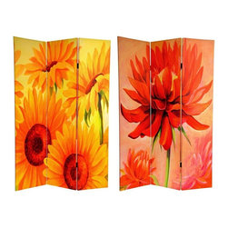 Oriental Furniture - 6 ft. Tall Double Sided Poppies and Sunflowers Canvas Room Divider - Stunning floral images of huge painted flowers in 19th century impressionist style introduce bold yellows, oranges, copper and green, with powerful, bigger than life imagery. A bright, beautiful accent for any room: living room, bedroom, dining or kitchen. A wonderful burst of color and shape that lifts the spirits of the space and the occupants. Each side has a different image as shown.