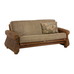 Night & Day Furniture - Night and Day Iris Futon in Honey Glaze - Chair - The Iris is the Grand Master of our rattan collection and comes complete with waterfall, banana trees and a couple of monkeys... Our Rattan Floral collection, built in wicker and natural fiber weaves, with cane and wood construction, is our most decorative collection. Bound at the corners in real raw hide leather, these frames are tough and rugged and absolutely charming. Delightful and luxurious, with their richness of texture, the Rattan Floral collection brightens up any interior. All Rattan Floral collection items come with a limited 5 year warranty.