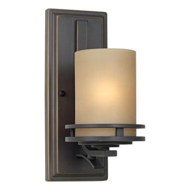 """Kichler - Contemporary Hendrik Bronze 12"""" High Wall Sconce - This Kichler wall sconce features slim lines and classic geometric shapes. The warm glow of the shades is created by the light umber etched glass used to diffuse the bulbs. The clean lines of the fixtures are emphasized by an Olde Bronze finish. This sconce can be mounted with the glass shades opening in either direction. Olde Bronze finish. Light umber etched glass. UL listed for damp locations. Takes one 100 watt bulb (not included). Extends 8"""" from the wall. 6"""" from mounting point to top. 5 1/2"""" wide. 12"""" high.  Olde Bronze finish.    Light umber etched glass.   UL listed for damp locations.   Design by Kichler lighting.  Takes one 100 watt bulb (not included).   12"""" high.  5 1/2"""" wide.  Extends 8"""" from the wall.   6"""" from mounting point to top."""