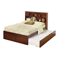 Atlantic Furniture - Atlantic Furniture Newport Bookcase Bed with Trundle in Antique Walnut-Twin Size - Atlantic Furniture - Beds - AR8522014