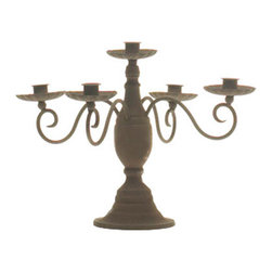 Rustic Metal Candelabra - Short - We love this Rustic Metal Candelabra, and its dark and secretive playfulness reminiscent of abandoned mansions and looming castles on the hill. Place this glorious candelabra in your foyer to greet your guests with an air of elegant mystery, or have it lit by your dining room table during a festive dinner party, or on a side table in your living room, or a dresser in your bedroom. The Rustic Metal Candelabra will be sure to meet all your holiday needs and add a dash of ancient wonder to your home.