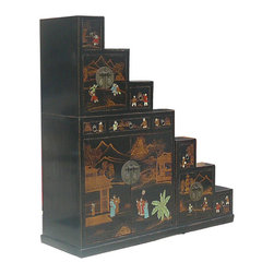 Golden Lotus - Oriental Japanese Style Chinese Traditional Hand Painting Step Tansu Cabinet - This is a Japanese style step Tansu cabinet with Chinese tradtional painting around it. It is combination of three pieces. Each piece can be used separately.  Espceially, each piece is double sides accessed.  It can be also used as room divider.