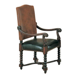 "Coaster - Dining Chair (Dark Wood) By Coaster (Set Of 2) - Set of 2 European Style Nail Head Trim Game/Dining Arm Chairs. Dimensions: 24""W 26""D 44.5""H.Finish: Two Tone Brown. Material: Solid Hardwood, Vinyl and Microfiber. Set of 2 Game/Dining Arm Chairs. Chairs are wrapped in a soft durable leather like vinyl seat and. microfiber two toned back. Nail head trim wraps around each chair to finish off the details. Matching game table is sold separately."