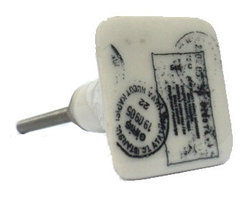 Modelli Creations - Stamp Knob - Decorate your desk in minutes with this quirky set of four square stamp knobs. Perfect for office supply storage, filing cabinets and letter drawers or as a gift for that special friend who delights loved ones with handwritten letters. Classic!