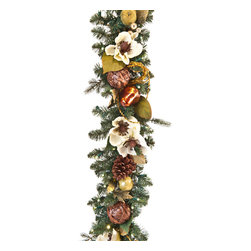 Village Lighting - Cream Gold LED Garland - The magic begins at your front door! Beautiful 4'artificial garland adorned with traditional pinecones, rustic straw-woven bulbs, gold-leafed style pears, beaded petite green apples and silk Magnolia flowers. Each garland comes pre-lit with 100 ultra-bright, warm clear LED mini-lights. You can select the lights to always be on, or use the convenient built-in timer to automatically turn on the lights each evening for 6 hours. Matching wreath sold separately.