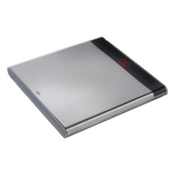 Alessi - Alessi Electronic Body Scale - Whether or not you like the number it gives you, you'll like the way this scale looks. The exterior is crafted of high-quality 18/10 stainless steel with a black plastic bar that shows the undeniable digital truth.