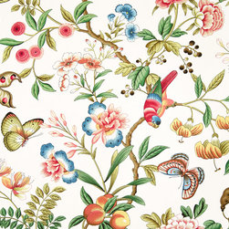 Parrot fabric tropical peach Oriental, Standard Cut - A tropical parrot fabric with butterflies, flowers, and peaches. There are lilies, peonies, alstroemeria, berries, and seed pods. Some elements are reminiscent of Oriental cloisonne.
