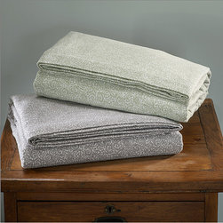 None - Luxury German Filigree Print Flannel Sheet Sets or Pillowcase Separates - These comfy soft flannel sheets feature a tight print curvy pattern available in brilliant silver grey and sage colors. The luxury flannel is machine washable and extra pillowcases are available for separate purchase.