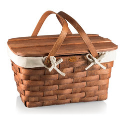 Picnic Time - Prairie Picnic Basket with Lining - Wood, Beige, Tan - The Prairie Picnic Basket with Lining is made in the USA of woven wood, with folding handle, a wooden plank lid, and a removable cotton canvas lining. Appalachian white ash, solid brass nails, brass-plated hardware, and 100% cotton give the basket an all-American look and feel you will love.
