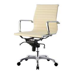 MEELANO - M344 Eames Style Office Chair In Cream Vegan Leather - Make your career dreams come true. Always Be Closing. Inspired by Mid-Century ideals, you'll go far and wide with your leadership skills sitting here. Attack your competition and become the master of your office.