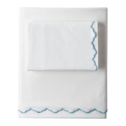 Serena & Lily - Scallop Sheet Set Aqua - Edged in cool aqua, our cloud-white  bedding is one of those tried-and-true basics that goes with anything. Scallop detailing brings a sweet vintage vibe.