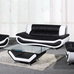 None - Christina Two-tone Leather Sofa Set - Create a sophisticated atmosphere in your living area with the Christina sofa set. Each piece in this set highlights a rich, bonded leather upholstery in a two-tone black and white color scheme for a contemporary feel.