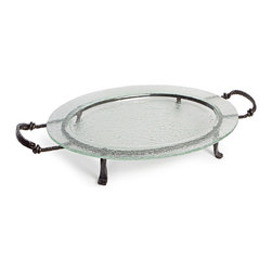 Danya B. - Oval Textured Glass Serving Platter and Iron Stand with Handles - Serve with elegance when you employ this oval textured glass tray on its iron stand as your platter. The dishwasher safe glass tray is easily removable for quick cleaning, and the iron stand includes useful handles, for ease of serving!