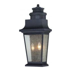 Joshua Marshal - Two Light Slate Clear Seeded Glass Wall Lantern - Two Light Slate Clear Seeded Glass Wall Lantern