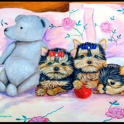 Caroline's Treasures - Yorkie Puppies Three In A Row Indoor Or Outdoor Mat 24X36 Doormat - Indoor / Outdoor Mat 24x36 - 24 inches by 36 inches. Permanently dyed and fade resistant. Great for the front door or the back door.  Use this mat inside or outside.    Use a garden hose or power washer to chase the dirt off of the mat.  Do not scrub with a brush.  Use the Vacuum on floor setting.  Made in the USA.  Clean stain with a cleaner that does not produce suds.
